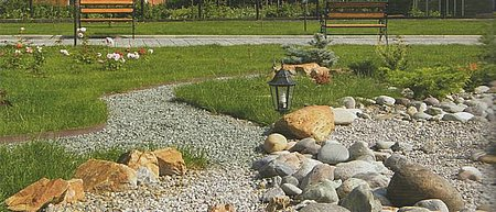 ландшафтная архитектура, каменистая речка