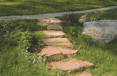 ступеньки из камня рыжих оттенков